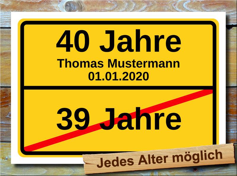 Schild 40 Geburtstag Bild Deko Geburtstagsfeier Eigener Text
