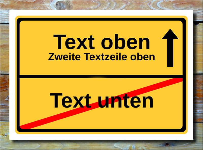 Ortsschild freier Text mit 3 Zeilen und 1 Pfeil