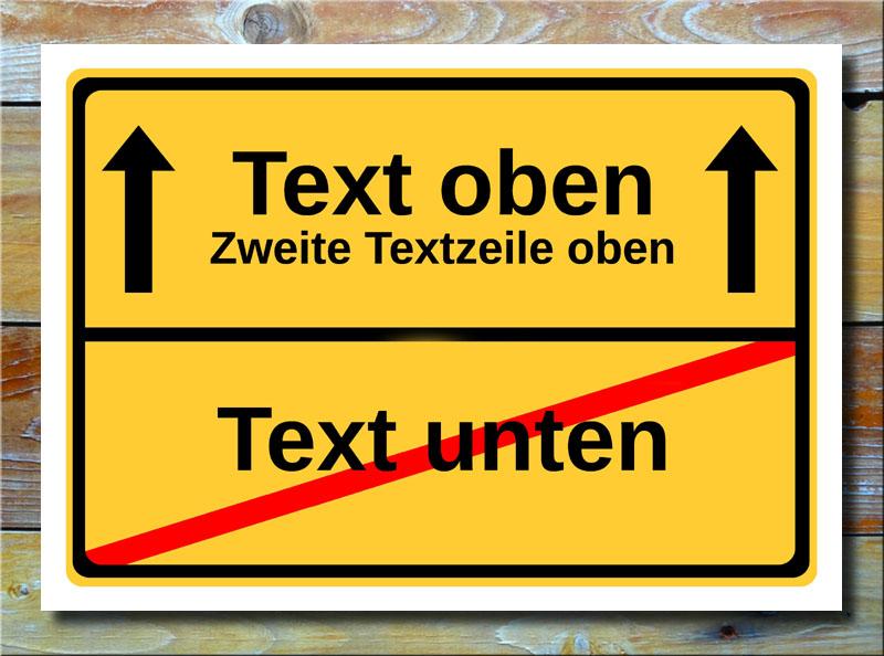 Ortsschild freier Text mit 3 Zeilen und 2 Pfeile
