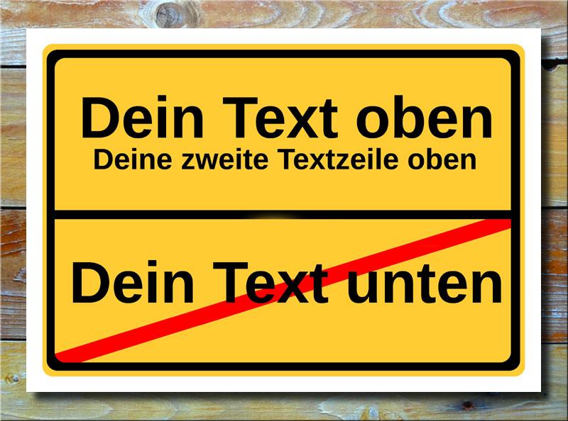 Ortsschild freier Text mit 3 Zeilen
