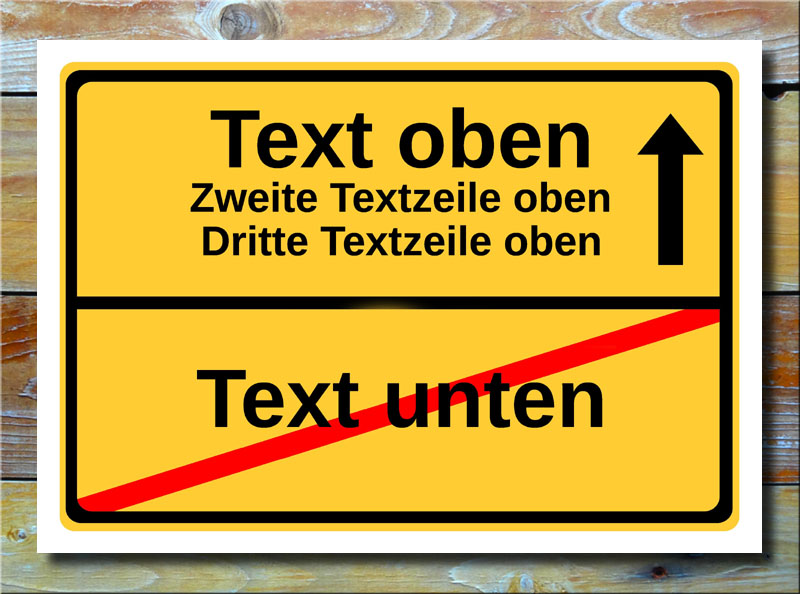 Ortsschild freier Text mit 4 Zeilen und 1 Pfeil