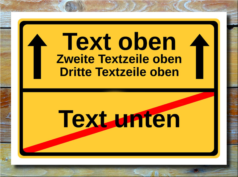 Ortsschild freier Text mit 4 Zeilen und 2 Pfeile