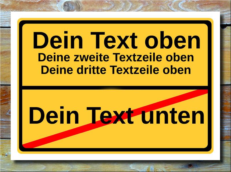 Ortsschild freier Text mit 4 Zeilen