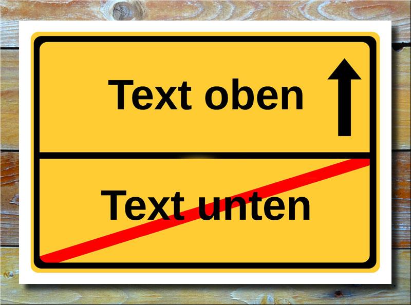 Ortsschild freier Text mit 2 Zeilen und 1 Pfeil