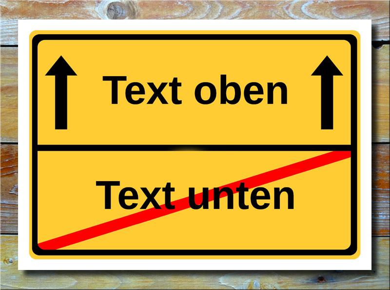 Ortsschild freier Text mit 2 Zeilen und 2 Pfeile