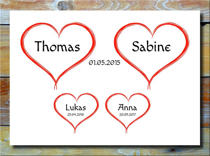 4 Herzchen für deine Familie