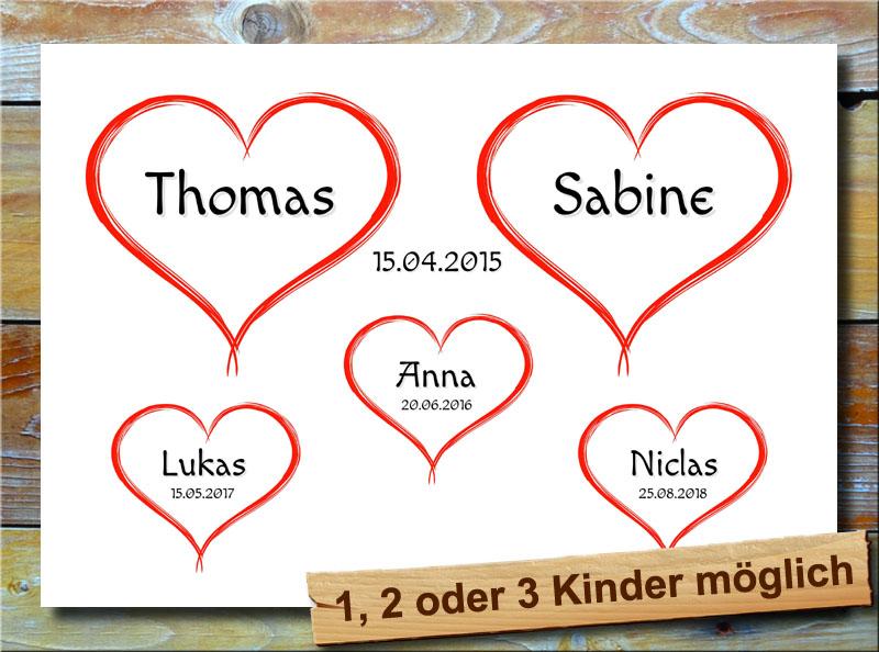 5 rote Herzchen für deine Familie