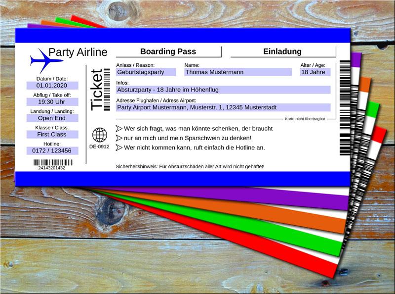 Geburtstag Einladungskarten als Flugticket Blau
