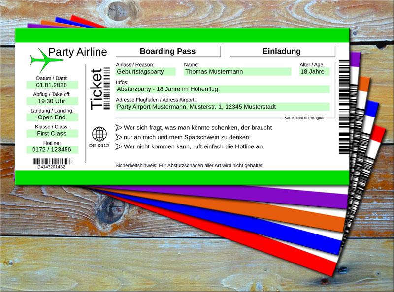 Geburtstag Einladungskarten als Flugticket Grün