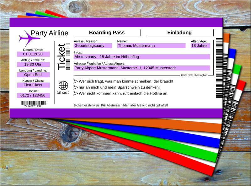 Geburtstag Einladungskarten als Flugticket Lila