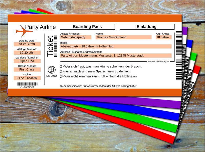 Geburtstag Einladungskarten als Flugticket Orange
