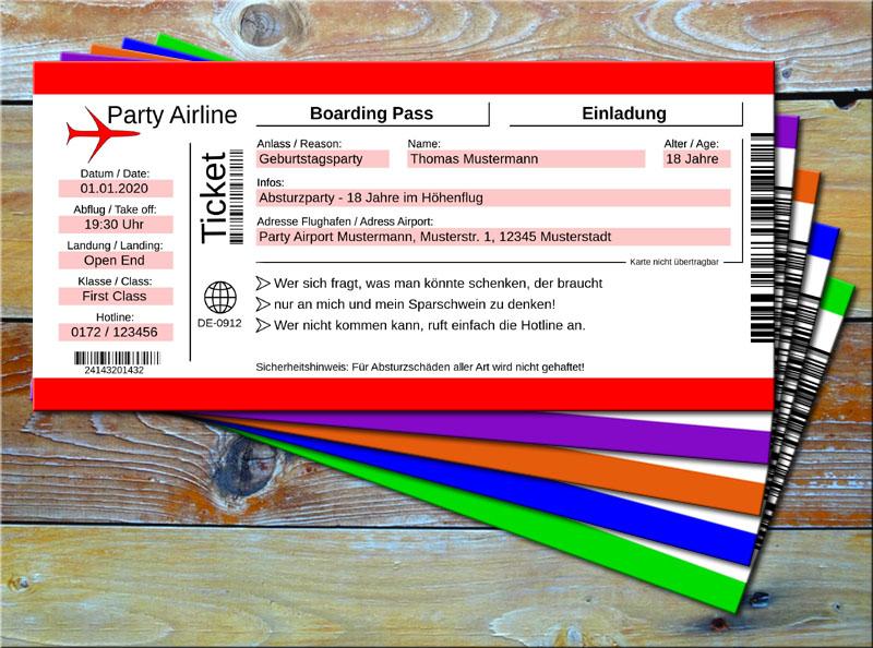 Geburtstag Einladungskarten als Flugticket Rot