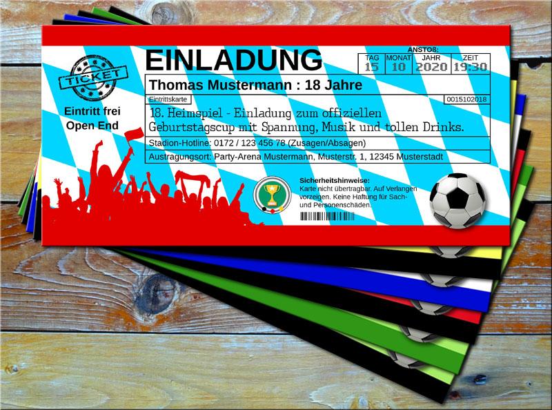 Fussball Einladungskarten im Ticketformat Bayern-Design
