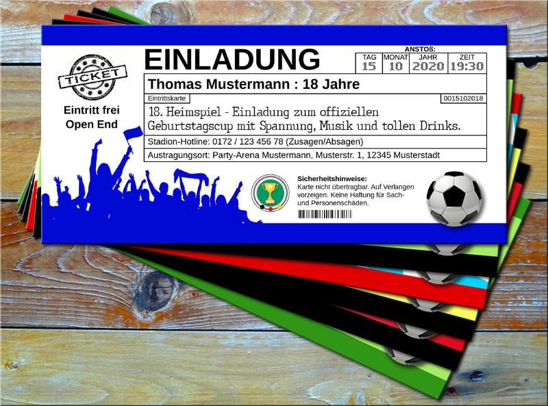 Fussball Einladungskarten im Ticketformat Blau/Weiß