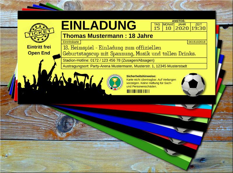 Fussball Einladungskarten im Ticketformat Gelb/Schwarz