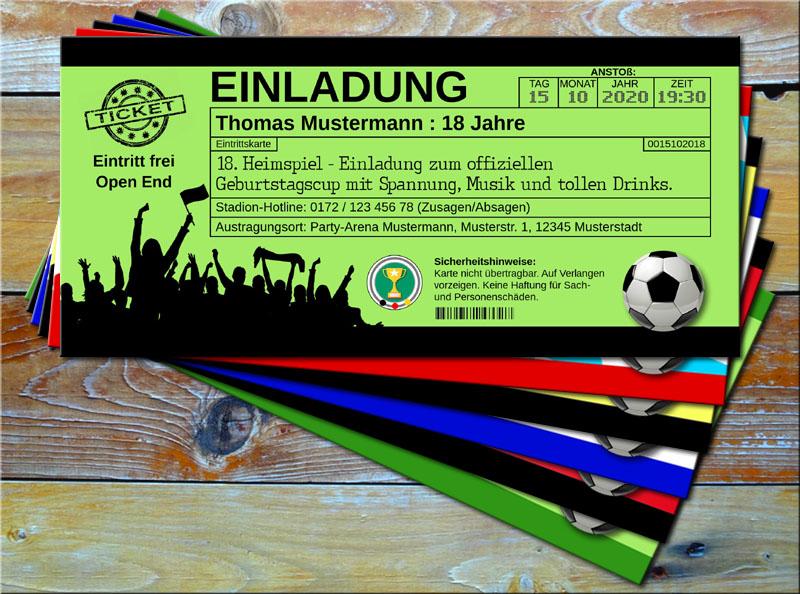 Fussball Einladungskarten im Ticketformat Grün/Schwarz