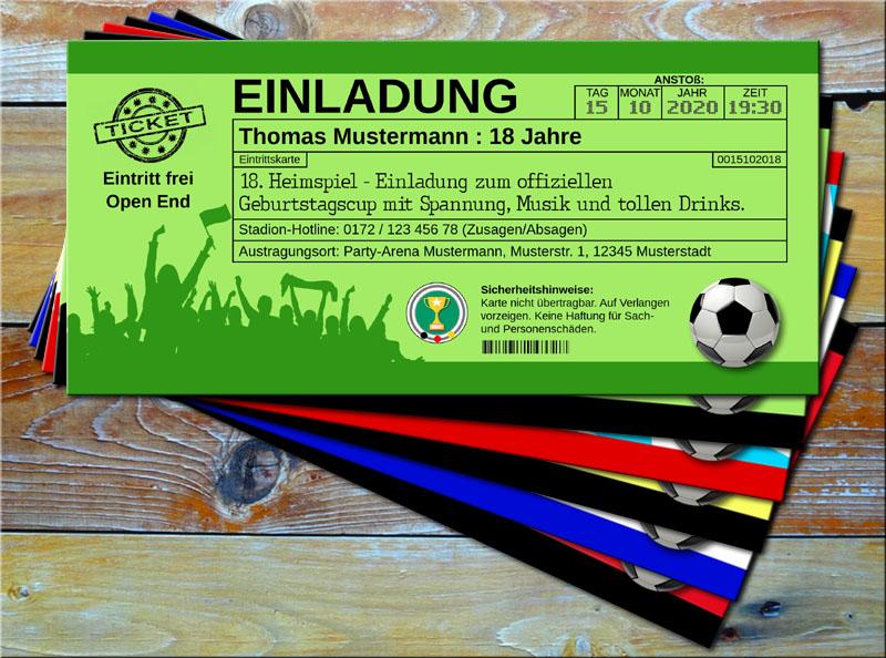 Fussball Einladungskarten im Ticketformat Grün