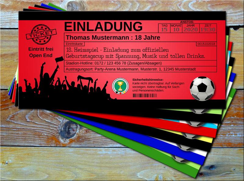 Fussball Einladungskarten im Ticketformat Rot/Schwarz