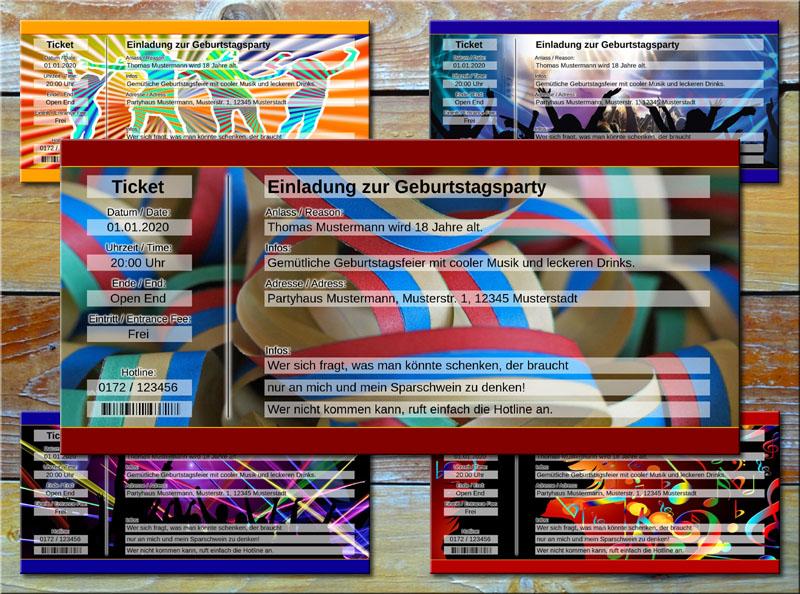 Geburtstag Einladungskarten als Party Ticket mit Luftschlangen