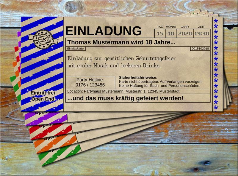 Einladungskarten Vintage Ticketformat mit Schraffur Blau
