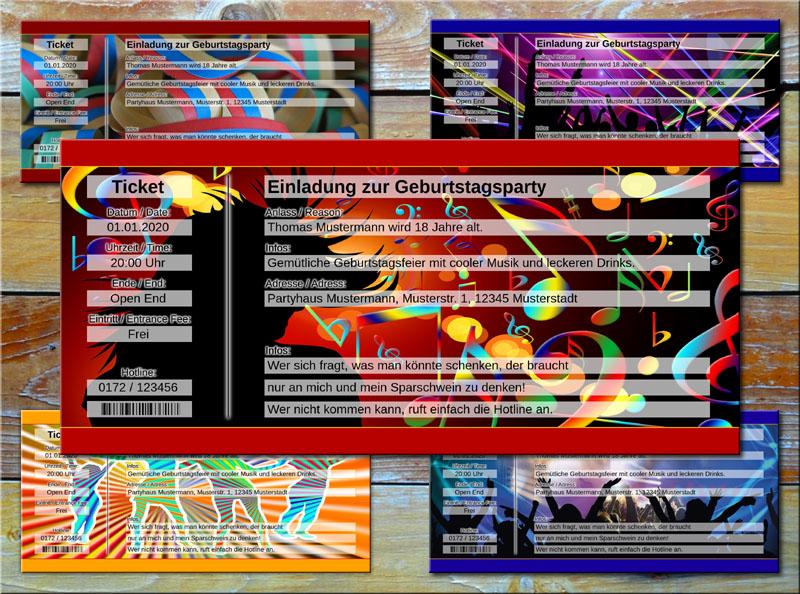 Geburtstag Einladungskarten als Party Ticket Rot