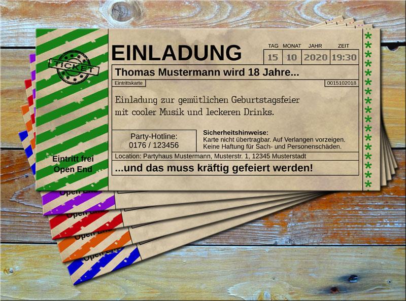 Einladungskarten Vintage Ticketformat mit Schraffur Grün
