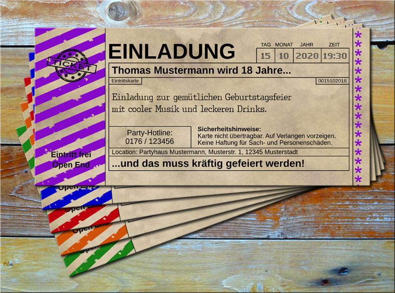 Einladungskarten Vintage Ticketformat mit Schraffur Lila