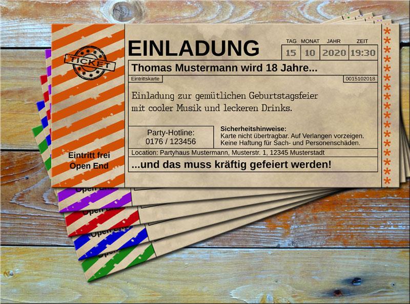 Einladungskarten Vintage Ticketformat mit Schraffur Orange