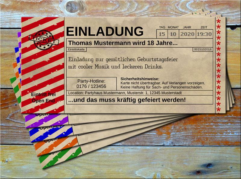 Einladungskarten Vintage Ticketformat mit Schraffur Rot