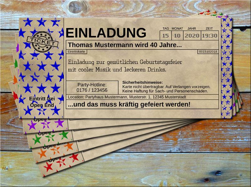 Einladungskarten Vintage Ticketformat Stars Blau