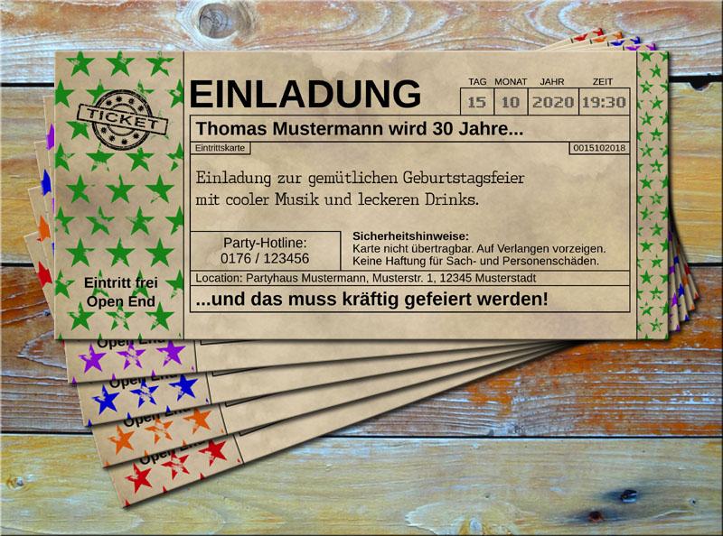 Einladungskarten Vintage Ticketformat Stars Grün