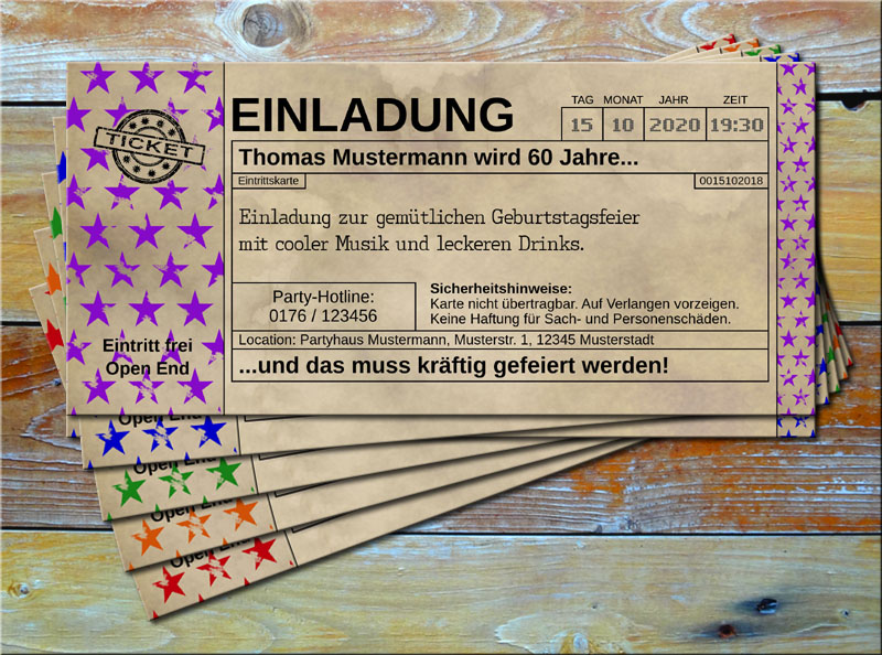 Einladungskarten Vintage Ticketformat Stars Lila