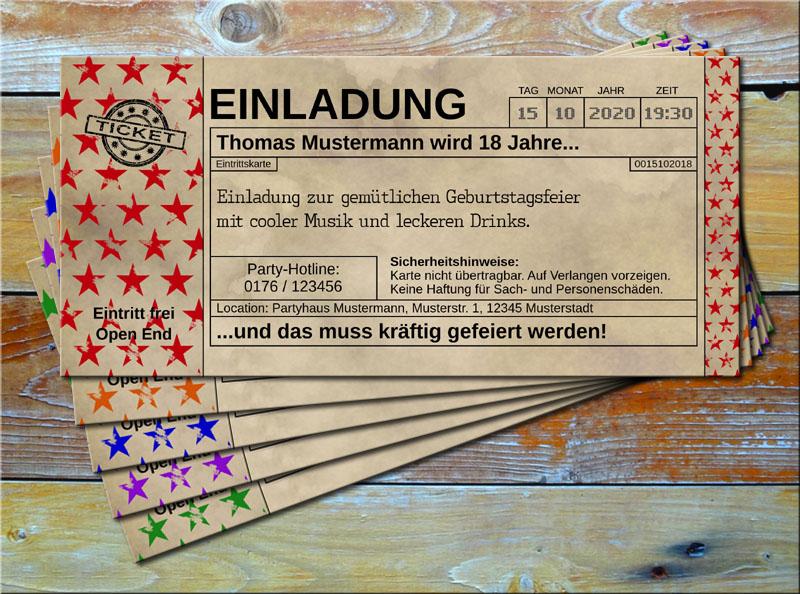 Einladungskarten Vintage Ticketformat Stars Rot