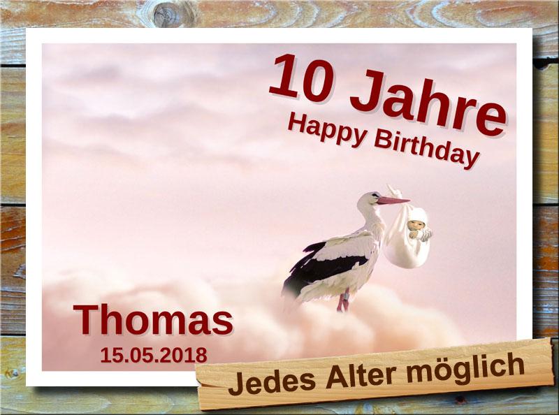 Geburtstagsschild mit Storch und Baby 10 Jahre