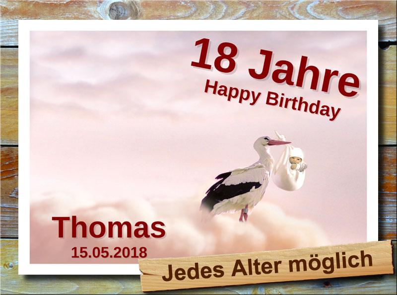 Geburtstagsschild mit Storch und Baby 18 Jahre