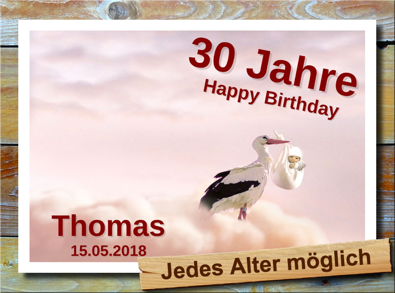 Geburtstagsschild mit Storch und Baby 30 Jahre