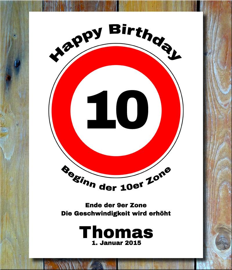 Geburtstags-Zonenschild als Verkehrszeichen 10 Jahre