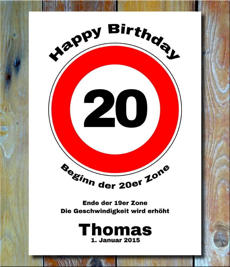 Geburtstags-Zonenschild als Verkehrszeichen 20 Jahre