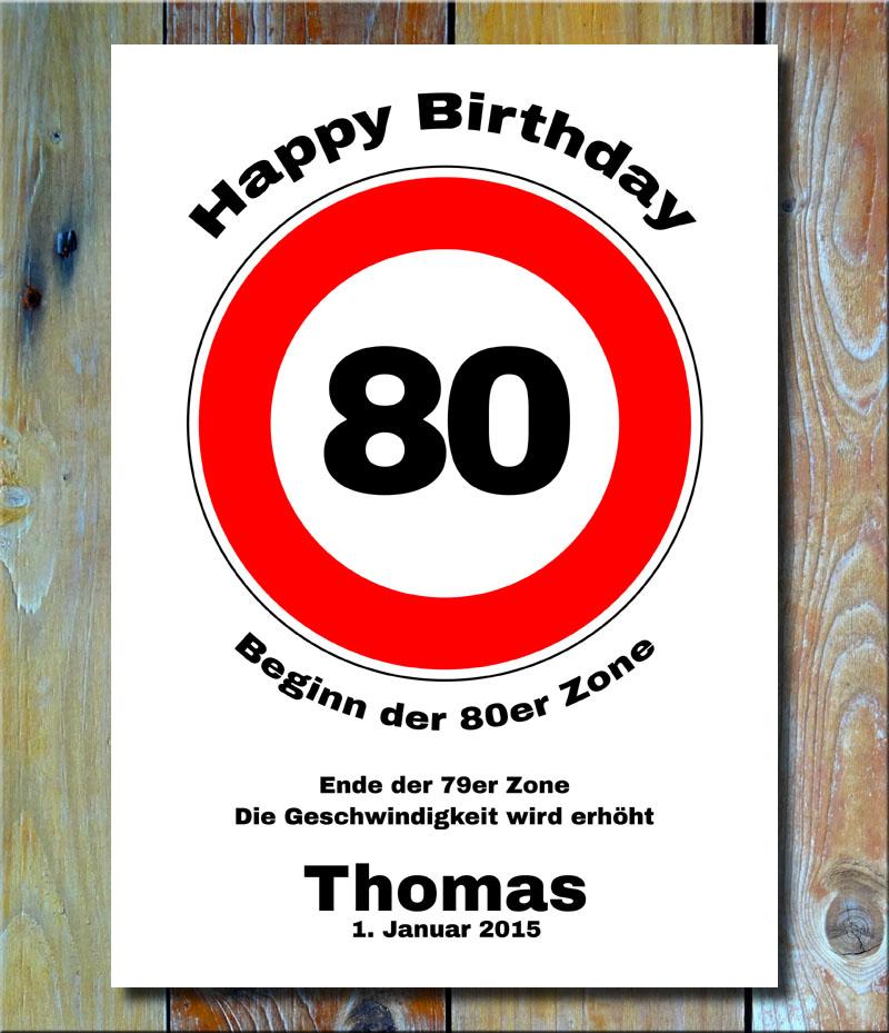 Geburtstags-Zonenschild als Verkehrszeichen 80 Jahre