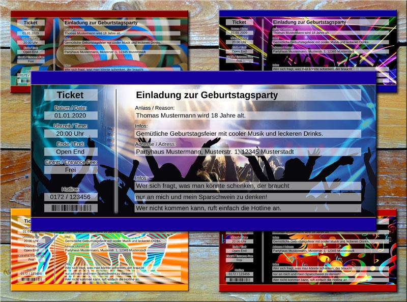 Geburtstag Einladungskarten als Party Ticket Blau