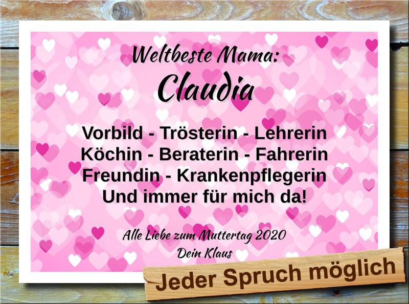 Herzbild in Violett Muttertag mit Spruch und Wunschtext
