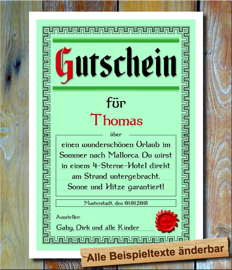 Details Zu Gutschein Geschenkidee Geburtstag Geschenkgutschein Textdruck Individuell Urlaub