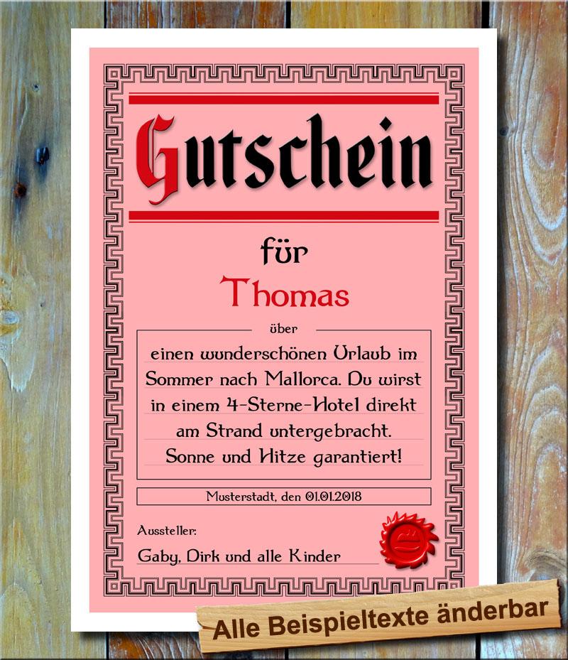 Gutschein Geschenkidee Geburtstag Gutscheinkarte Geschenkgutschein ...