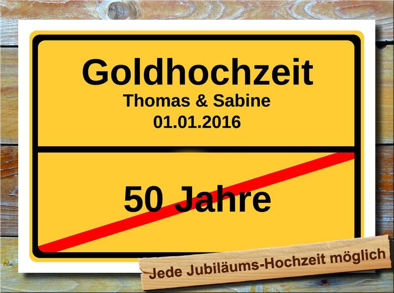 Goldhochzeit Ortsschild