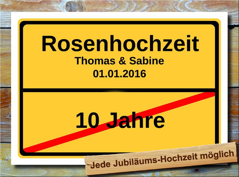 Details Zu Rosenhochzeit Ortsschild Hochzeitstag 10 Jahre Ehe Jubiläum Geschenk