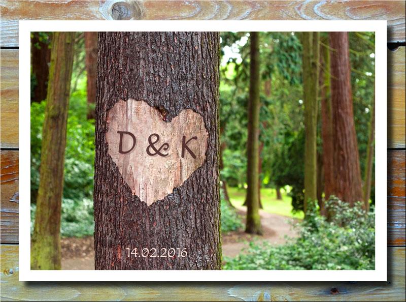 Herz auf Baumstamm