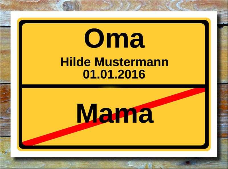 Ortsschild Oma
