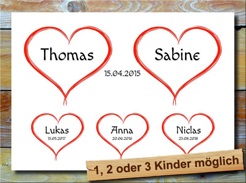 5 Herzchen für deine Familie