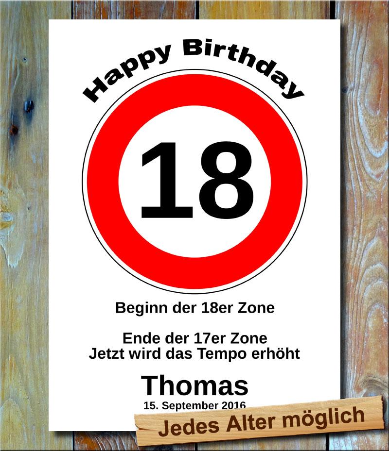 Tempolimit zum Geburtstag 18 Jahre