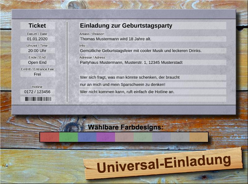 Universal Geburtstag Einladungskarten Soft Blau